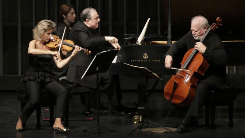 Cellist Lynn Harrell, right, performs with violinist Anne-Sophie Mutter and pianist Yefim Bronfman at what is now called the Younes and Soraya Nazarian Center for the Performing Arts in Northridge in 2015.