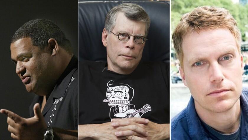 Finalists for the 2015 Edgars include Chris Abani, left, for paperback original, Stephen King for novel and Adam Sternberg for debut novel.