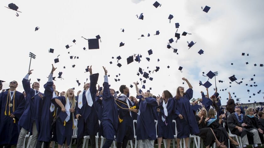Graduates toss their caps during the Newport Harbor High School 2017 commencement at Davidson Field