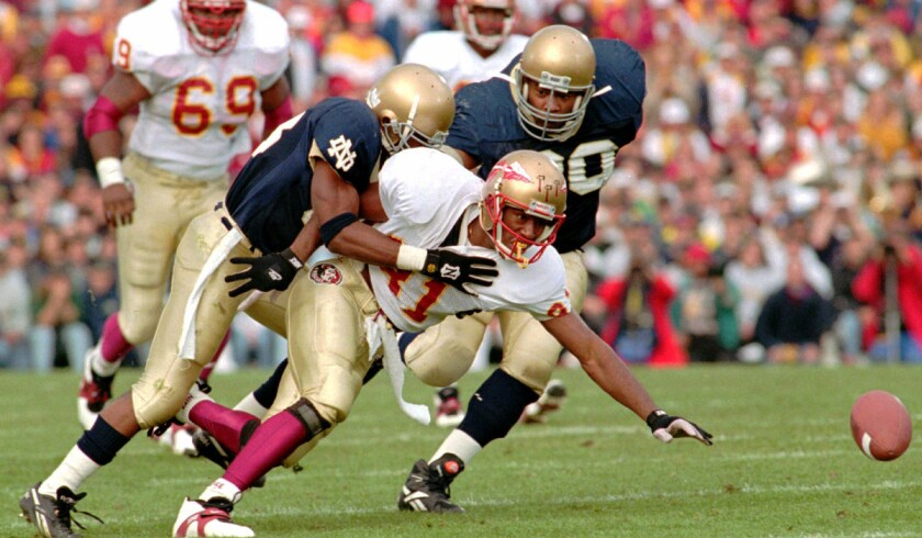 Column Notre Dame Versus Florida State Was An Even Bigger Game In 1993 Los Angeles Times