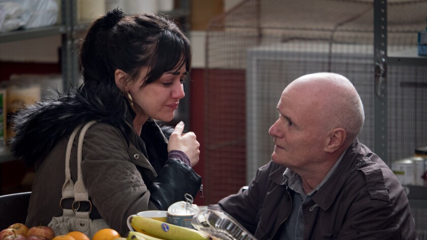 """Hayley Squires and Dave Johns in the movie """"I, Daniel Blake."""""""