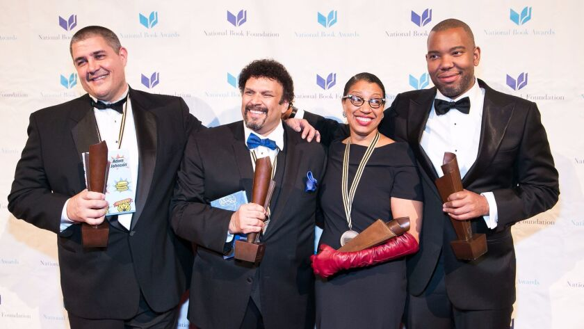 Robin Coste Lewis with her fellow 2015 National Book Award winners, from left, Adam Johnson in ficti