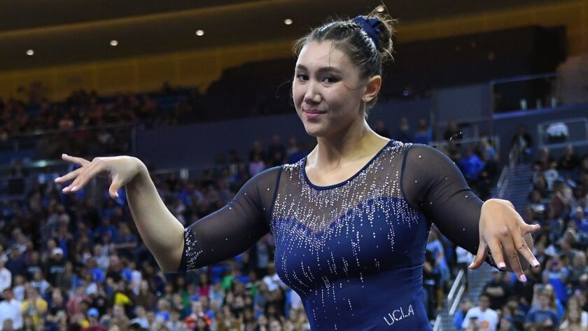 UCLA gymnast Kyla Ross competes in floor exercise routine during Saturday's meet against Arizona.