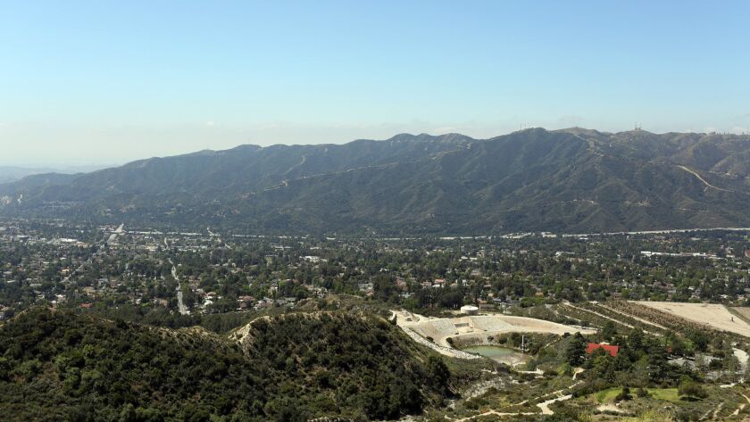 LOS ANGELES, CA-MAY 28, 2019: Views of La Crescenta and Los Angeles are seen from the top of the wal