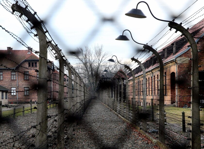 Shown is a view of the former Nazi concentration and death camp Auschwitz-Birkenau in southern Poland.