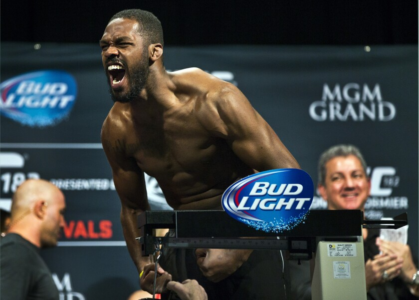 Jon Jones yells during the weigh-in for UFC 182 on Jan. 2, 2015.