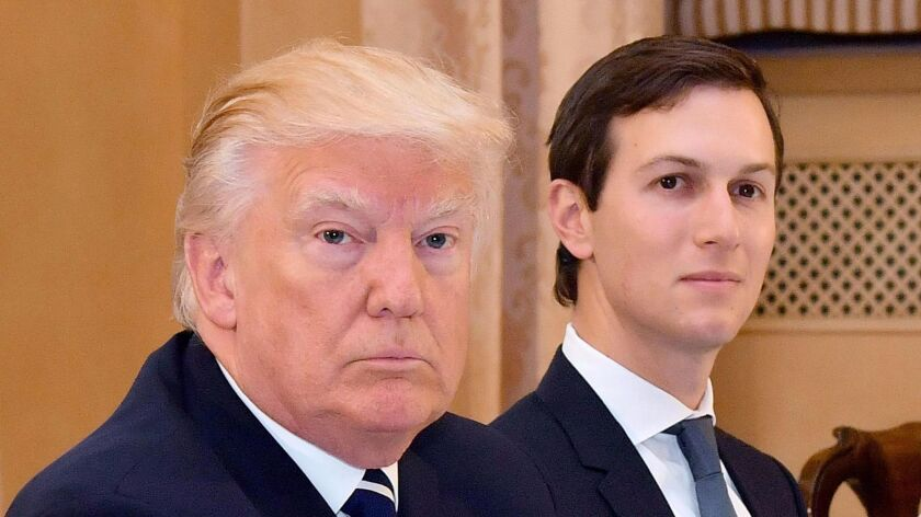 President Trump, left, with his senior advisor Jared Kushner during a meeting with Italian Prime Minister Paolo Gentiloni in Rome on Wednesday.