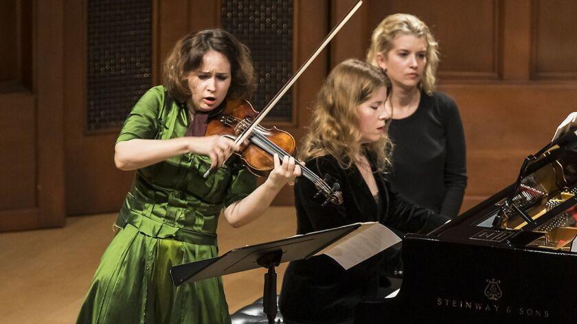 Violinist Patricia Kopatchinskaja and pianist Polina Leschenko perform in recital Tuesday night at Hahn Hall in Santa Barbara.