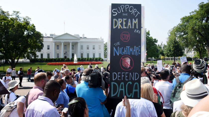 Protesters rally at the White House in support of the Deferred Action for Childhood Arrivals program on Sept. 5, 2017.