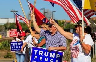Trump supporters rally at Pendleton gate