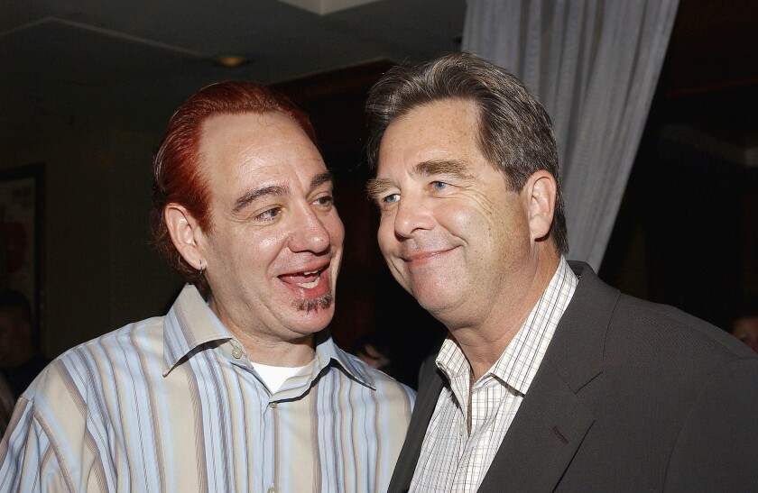 John Lafia and Beau Bridges  attend a 2004 after-party for the miniseries '10.5.'