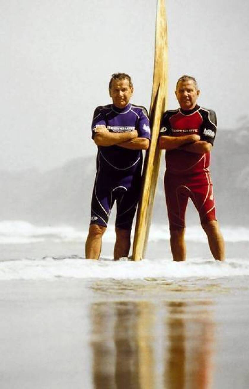 Bob Meistrell, right, and his twin brother, Bill, founded Body Glove International, which has grown into a $200-million business, selling wetsuits, surfwear, swimsuits, snorkels and cellphone covers.