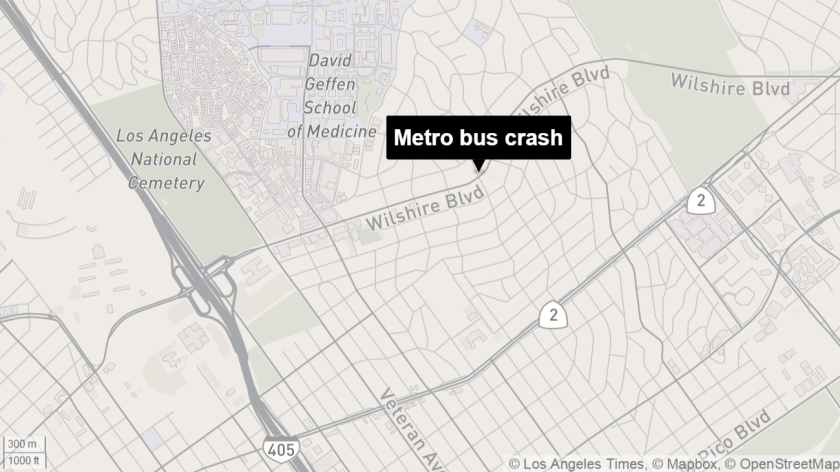 Map shows the approximate location where a Metro bus crashed early Saturday.