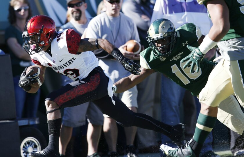 San Diego State running back Donnel Pumphrey, left, slips past Colorado State safety Trent Matthews for a short gain in the first half of an NCAA college football game, Saturday, Oct. 31, 2015, in Fort Collins, Colo. (AP Photo/David Zalubowski)