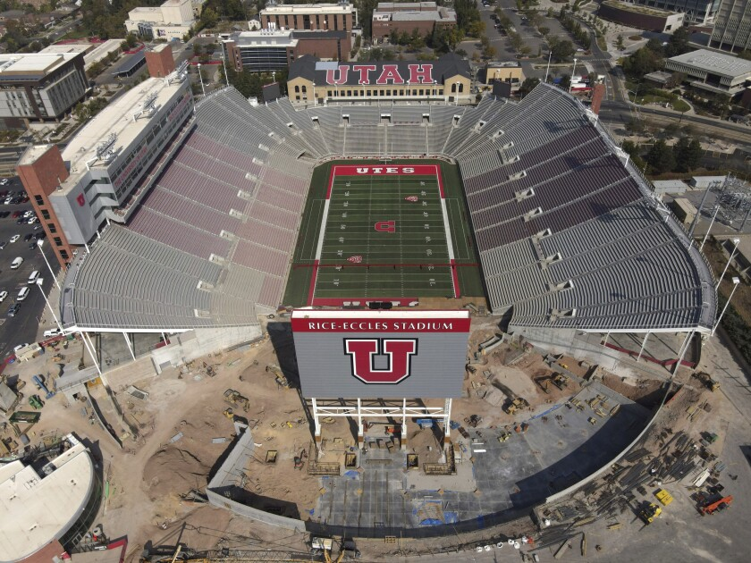 An aerial view shows Rice-Eccles Stadium, home of the University of Utah football team