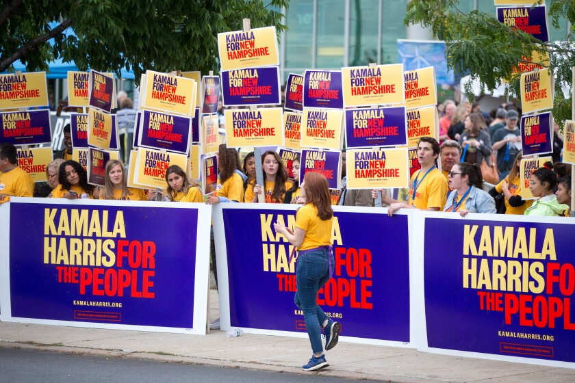 Supporters of Democratic presidential candidate Kamala Harris