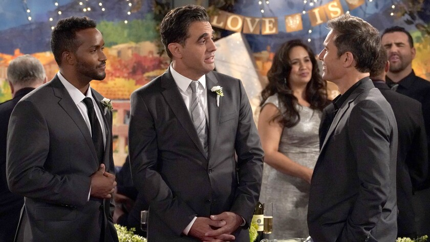 "Sterling Sulieman, left, Bobby Cannavale and Eric McCormack in ""Will & Grace"" on NBC."