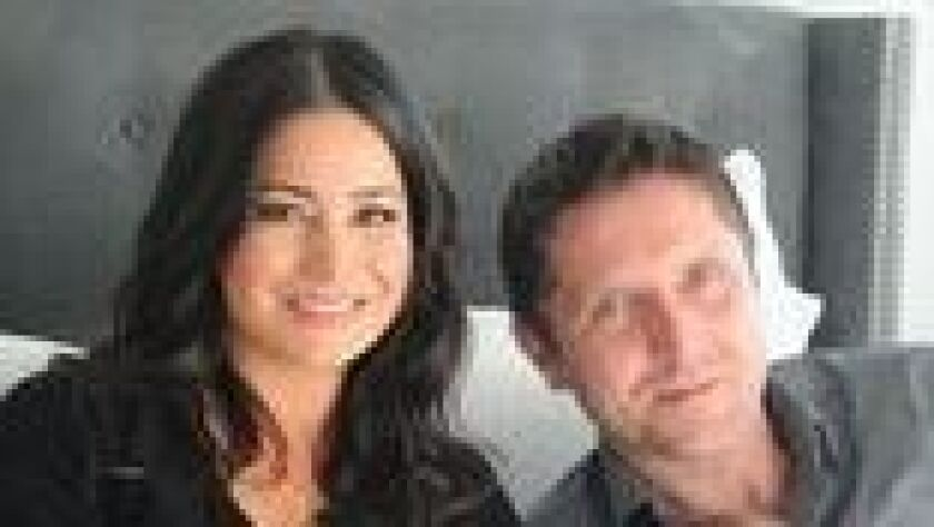 San Diego entrepreneur Shireen Maria Thor with her husband, Arni, who gave her the prototype design