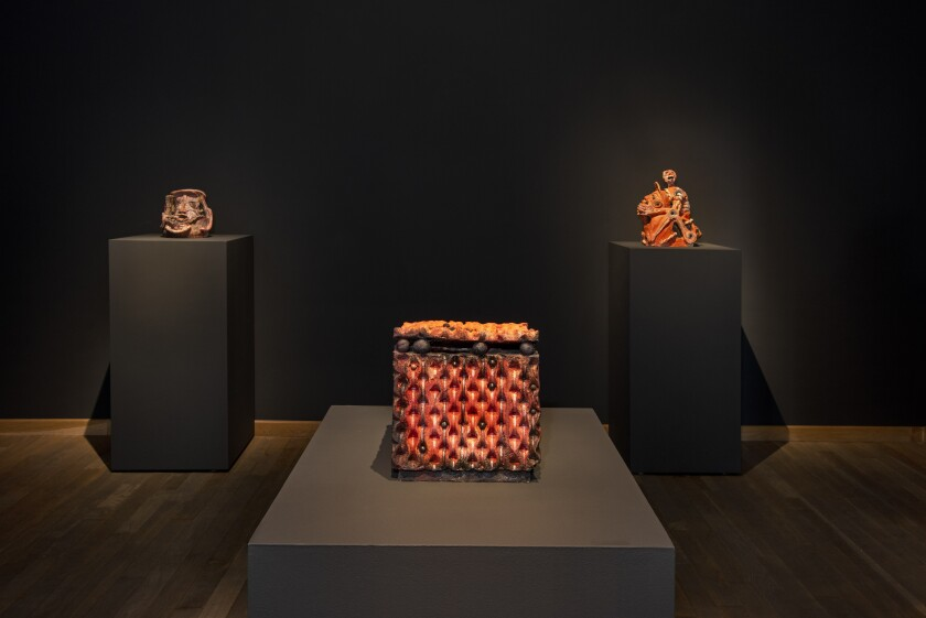 "An installation view of Francisco Toledo's ""Duelo"" ceramics at Latin American Masters"