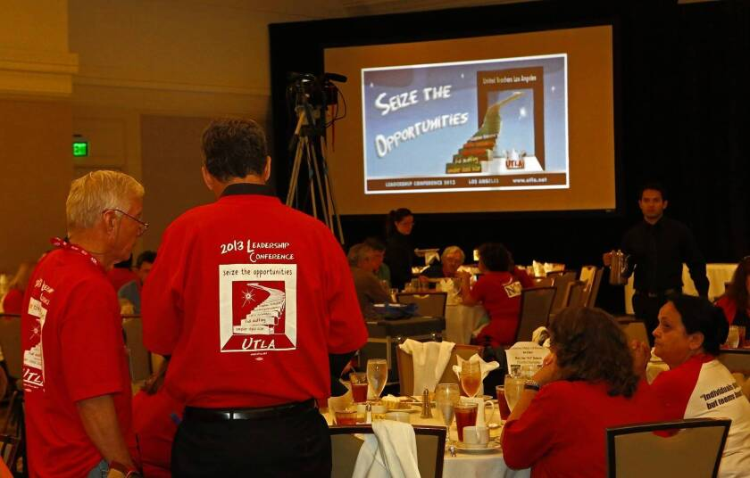United Teachers-Los Angeles members gather at a Los Angeles hotel for a weekend of workshops, speakers and political campaigning for new union officers. The weekend's events were attended by more than 400 mostly activist teachers who represent the union on their school campuses.