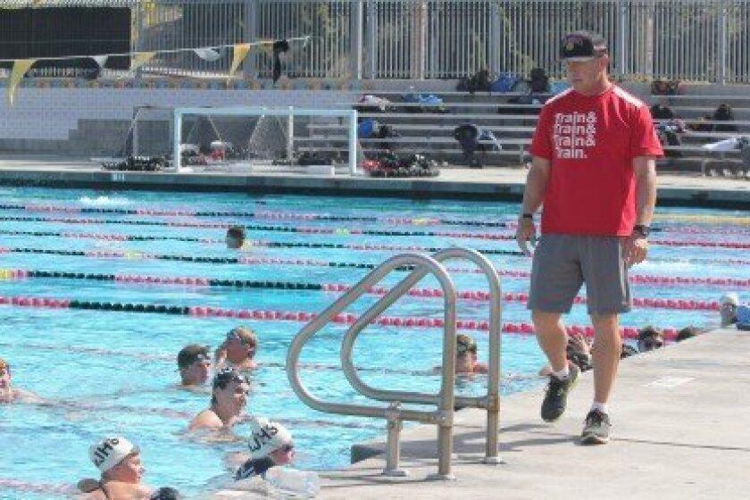Tom Atwell coaches the La Jolla High swim team at Coggan Family Aquatic Complex.