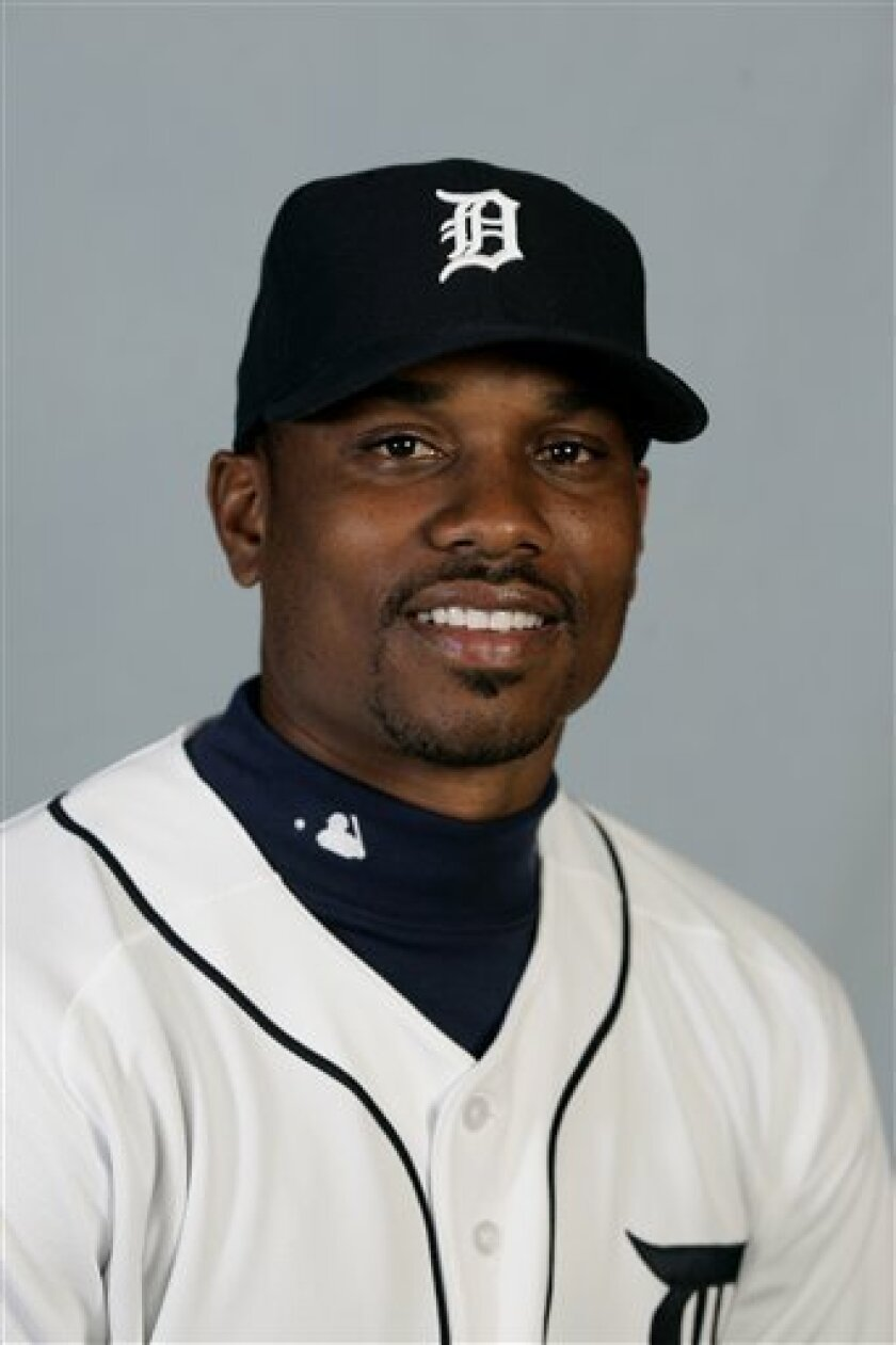 This is a 2008 file photo of Jacque Jones of the Detroit Tigers baseball team. Jones was cut Monday, May 5, 2008 by the Tigers, who had promised a lineup shakeup going into a homestand against the Boston Red Sox and New York Yankees. (AP Photo/Duane Burleson, File)