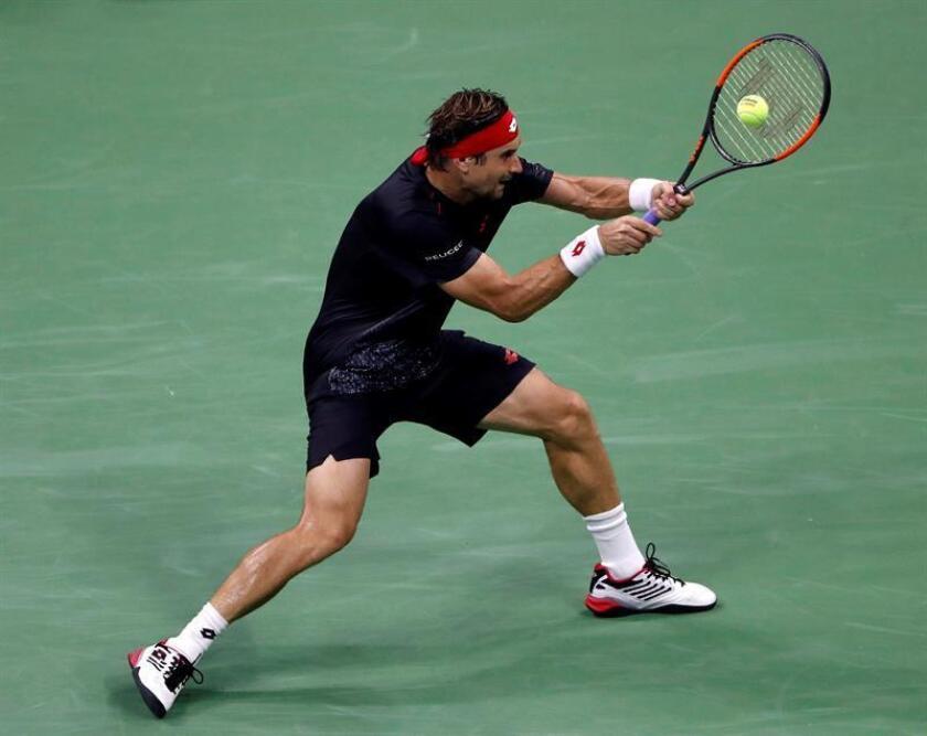 El tenista español David Ferrer en acción ante su compatriota Rafael Nadal durante un partido de la primera ronda del Abierto de Estados Unidos, este lunes 27 de agosto de 2018, en el USTA Billie Jean King National Tennis Center, en Flushing Meadows, Nueva York (EE.UU.). EFE