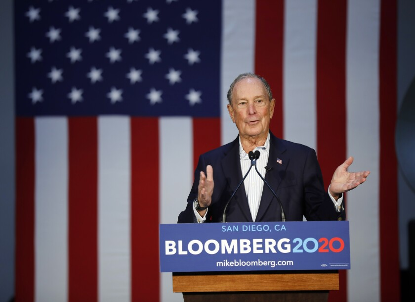 Democratic presidential candidate Mike Bloomberg spoke to a group at Fuse Integration in Kearny Mesa on Sunday, Jan. 5, 2020.
