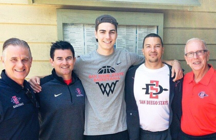 Max Hoetzel, a 6-8 forward transferring from Indiana, posted this Instragram photo with the Aztecs coaches shortly after committing to SDSU.
