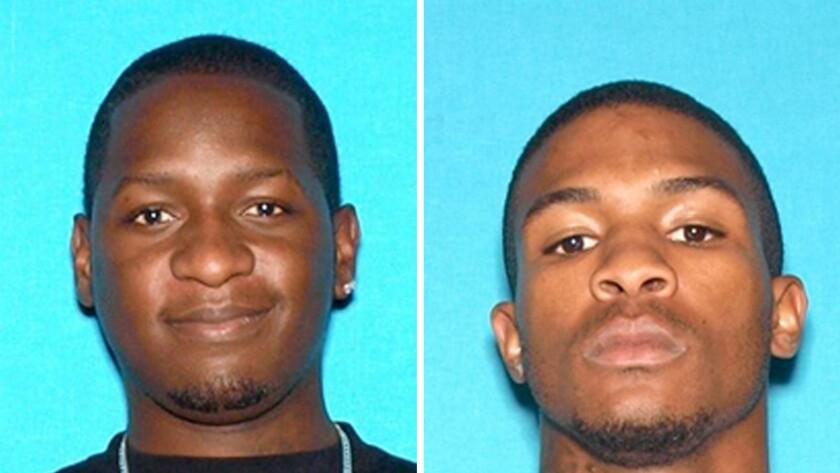 Travon Lamar Williams, 26, left, and Samathy Mahan, 25, both of San Bernardino, were shot to death along with Williams' 9-year-old son, Travon Williams, outside a San Bernardino liquor store Friday night.