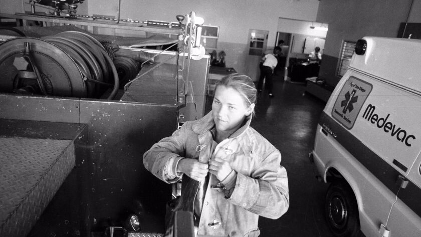 Lonnie Kitch, San Diego's first female firefighter, pictured in March 1979.