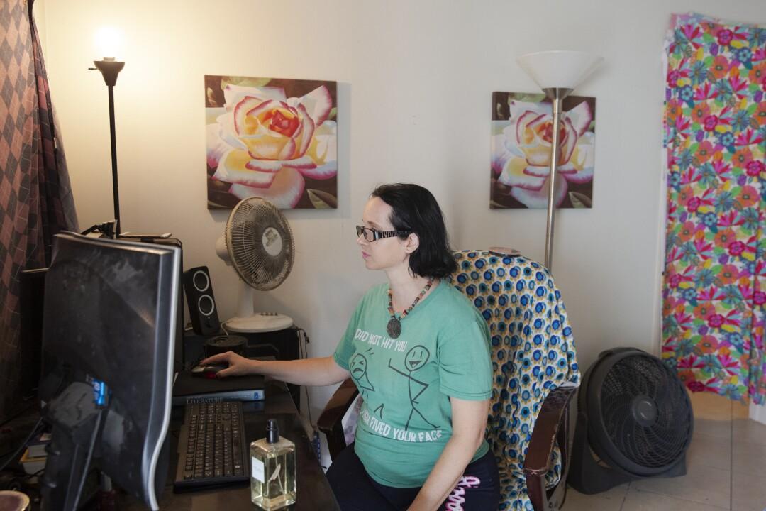 Amber Elizabeth Stevens in her studio apartment in Long Beach