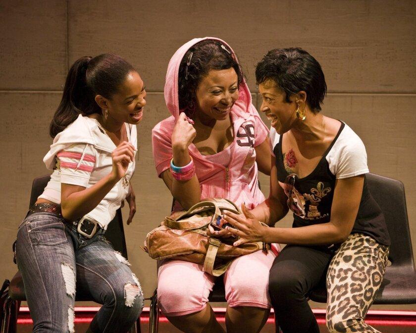 "Angela Lewis, Nikiya Mathis and Cherise Boothe (left to right) in Kirsten Greenidge's ""Milk Like Sugar"" at La Jolla Playhouse."