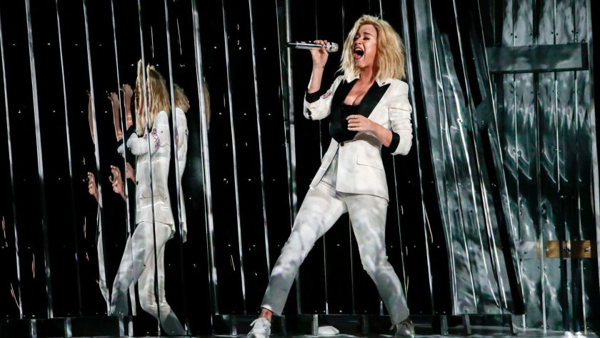 Singer Katy Perry performs at the Grammy Awards.
