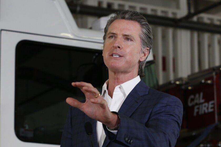 California Gov. Gavin Newsom said Monday that California teams can play in their home ballparks for a potential 2020 MLB season.