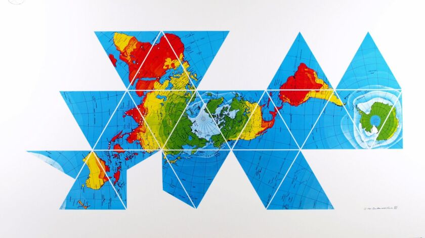 "R. Buckminster Fuller's map rendering ""Dymaxion Air-Ocean World Map,"" 1980, at Edward Cella."