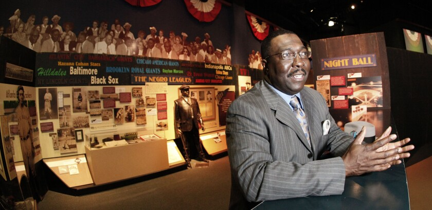 Bob Kendrick talks inside the Negro Leagues Baseball Museum in 2010.