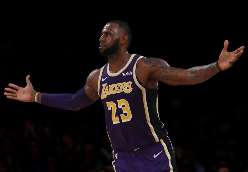 LOS ANGELES, CALIF. - OCT. 31, 2018. Lakers forward LeBron James in action against the Mavericks on