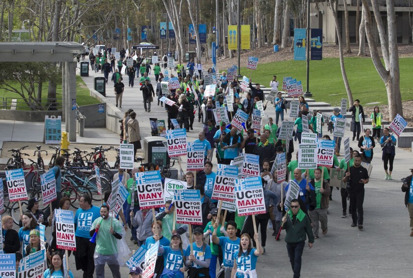 On Mar. 20, 2019, striking UC San Diego health service workers strike on campus. The workers staged another single-day strike Wednesday.