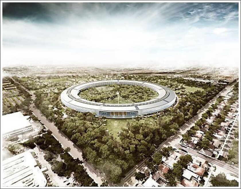 The completion of Apple's new campus, seen in an architect's sketch, has been delayed until 2016 and it's currently $2 billion over budget, according to a report.