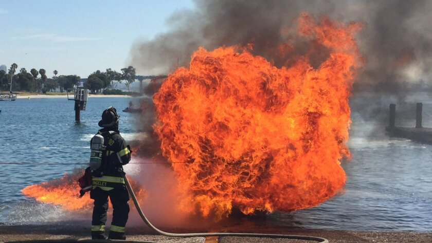A 20-foot motor boat went up in flames at a Glorietta Bay boat launch in Coronado on Saturday. No one was injured.
