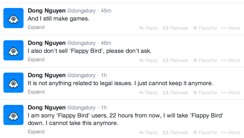 """Flappy Bird,"" the current top free game for both iPhone and Android devices, will no longer be available for download by midday Sunday, according to the game's developer."