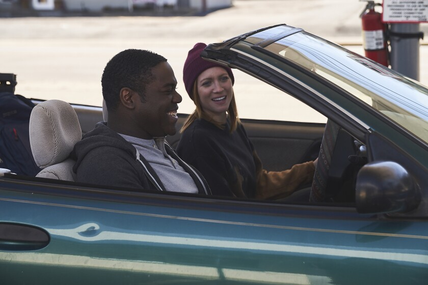 "Sam Richardson and Brittany Snow in ""Hooking Up"""