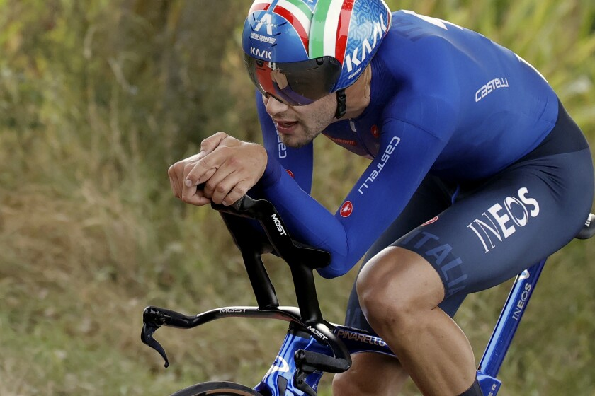 Filippo Ganna of Italy competes to win the Men Elite individual time trial race at the World Road Cycling Championships in Bruges, Belgium, Sunday Sept. 19, 2021. (AP Photo/Olivier Matthys)
