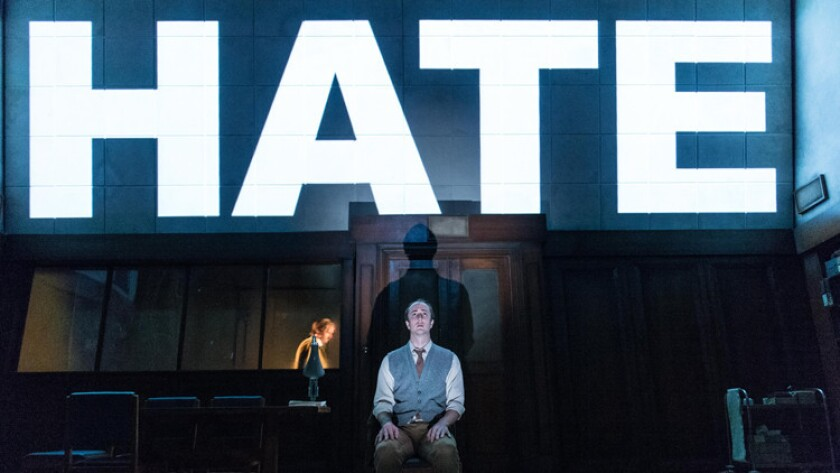 "Matthew Spencer plays protagonist Winston Smith in Headlong Theatre's adaptation of George Orwell's ""1984."""