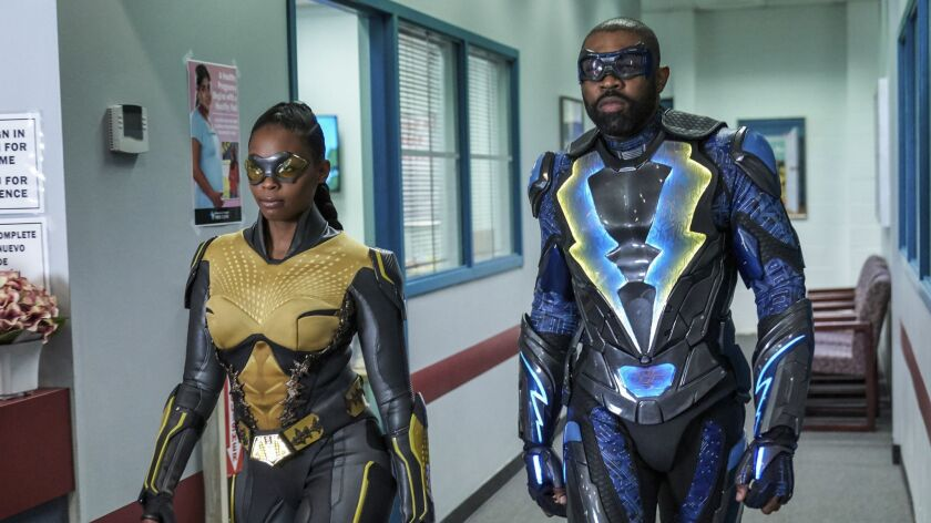 "Nafessa Williams and Cress Williams in ""Black Lightning"" on The CW."