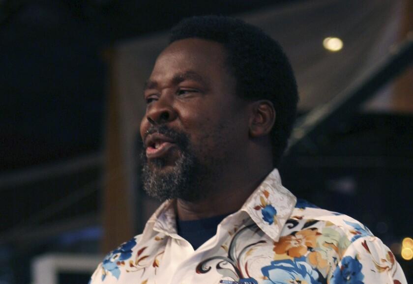 El televangelista T.B. Joshua en Lagos, Nigeria, el 15 de septiembre del 2013.