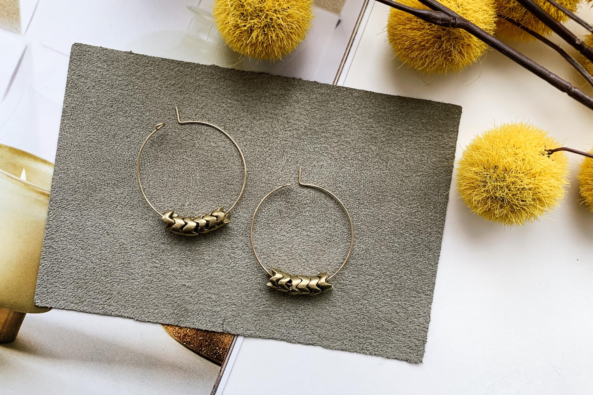 "Jaime 1.5"" Hoop Earrings (Brass Snake), $60"