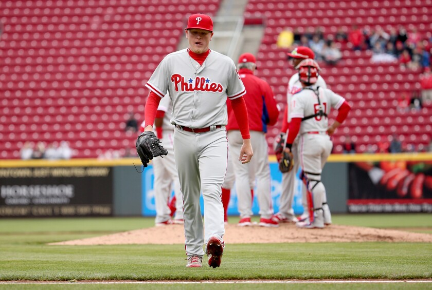 Phillies pitcher Daniel Stumpf (53) walks off of the field after being replaced in the fourth inning of a game against the Reds.