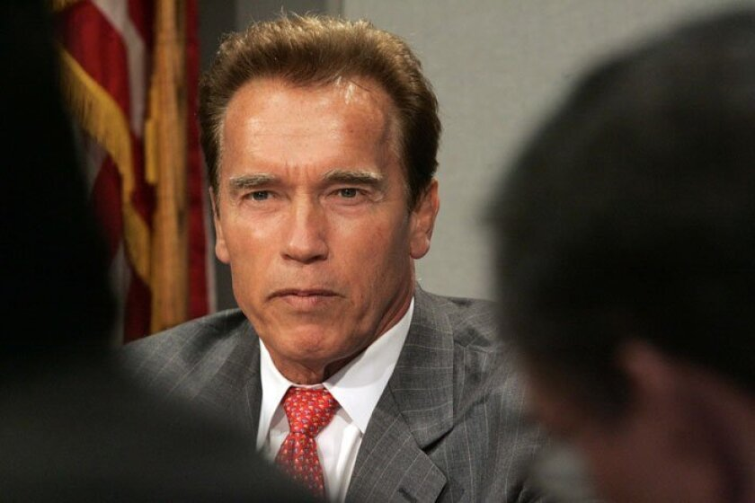 Arnold Schwarzenegger meets with the editorial board of the San Diego Union-Tribune.